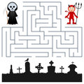 Halloween maze grim reaper devil game for children help the and the red find the way to the cemetery to celebrate eps Royalty Free Stock Image