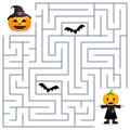 Halloween Maze - Scarecrow and Pumpkin Royalty Free Stock Photo