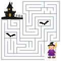 Halloween Maze - Witch and Haunted House Royalty Free Stock Photo