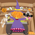 Halloween meal a vector illustration of showing witch cooking in her cauldron see related image Royalty Free Stock Photos
