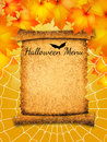 Halloween menu illustration of on parchment Stock Photos