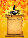 Halloween menu illustration of spider with Stock Photography