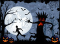 Halloween monster tree background with scary and fearfulness running man illustration Stock Image