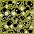 Halloween monsters background monster silhouettes on a green Stock Images
