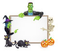 Halloween monsters background sign a with cartoon skeleton witch and frankenstein monster all pointing at the center also with Stock Photos
