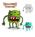 Halloween monsters four legs freak eps file scary looking eyes creature set vector organized in layers for easy editing Stock Photography
