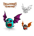 Halloween monsters freak bat eps file spooky creature set vector organized in layers for easy editing Royalty Free Stock Photography