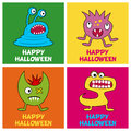 Halloween Monsters Greeting Cards [1] Royalty Free Stock Photo