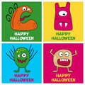 Halloween Monsters Greeting Cards [2] Royalty Free Stock Photo