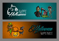 Halloween monsters happy party web banners set eps file vector organized in layers for easy editing Stock Photography