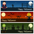 Halloween Monsters Horizontal Banners [1] Royalty Free Stock Photo