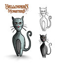 Halloween monsters scary cartoon black cat eps f spooky cats set vector file organized in layers for easy editing Royalty Free Stock Photos