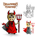 Halloween monsters scary cartoon devil man eps f spooky men set vector file organized in layers for easy editing Royalty Free Stock Photo