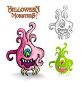 Halloween monsters scary cartoon ugly freak eps spooky weird set vector file organized in layers for easy editing Royalty Free Stock Photos