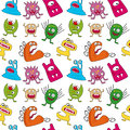 Halloween monsters seamless a pattern with funny monster on white background useful also as design element for texture pattern or Royalty Free Stock Photography
