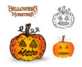Halloween monsters spooky pumpkin illustration eps file lanterns set vector organized in layers for easy editing Royalty Free Stock Photography