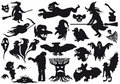 halloween monstersilhouettes Arkivbilder