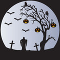 Halloween moon a scene of a withered tree bats pumpkins owls a graveyard and the grim reaper in front of a pale Stock Photography