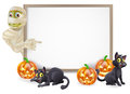 Halloween mummy sign or banner with orange pumpkins and black witch s cats witch s broom stick and cartoon egyptian Stock Photography