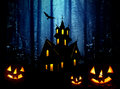 Halloween na floresta. Noite Foto de Stock Royalty Free
