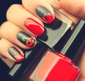 Halloween nail art design. Black matte nailpolish Royalty Free Stock Photo