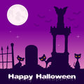 Halloween Necropolis with Black Cats Royalty Free Stock Photo