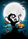 Halloween night background, dry tree and full moon