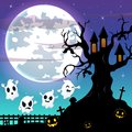 Halloween night background with flying ghost and bats hanging on scary tree house
