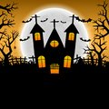 Halloween night background and full moon. space for text. vector illustration