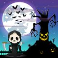 Halloween night background with Grim reaper and spooky tree in front the full moon