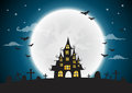 Halloween night background, haunted house and full moon Royalty Free Stock Photo
