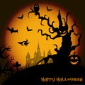 Halloween night background with haunted house, tree, pumpkin and bats. Vector Royalty Free Stock Photo