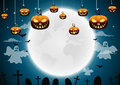 Halloween night background with pumpkin and full moon