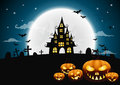 Halloween night background with pumpkin, haunted house Royalty Free Stock Photo