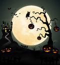 Halloween night background with pumpkin, tree and full moon. Royalty Free Stock Photo