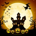 Halloween night background with pumpkins, witch flying, haunted castle and full moon