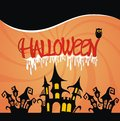 Halloween night background scary with haunted house and owl Royalty Free Stock Image