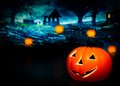 Halloween night background with scary house and pumpkins pumpkin party concept Royalty Free Stock Photo