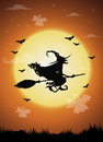 Halloween night background with witch and full moon