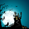 Halloween night background with wolves and haunted castle