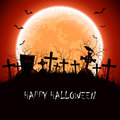Halloween night at the cemetery with full moon illustration Royalty Free Stock Photo