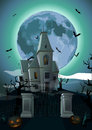 Halloween night: full moon beautiful castle chateau, gate, ghost