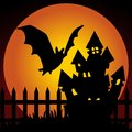 Halloween night haunted house with bat Royalty Free Stock Image