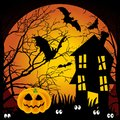 Halloween night haunted house with bats and pumpki Stock Images