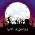 Halloween night with Moon at the cemetery Royalty Free Stock Photo