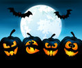 Halloween night with pumpkins vector illustration for against the sky Stock Photos