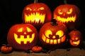 Halloween night scene with spooky Jack o Lanterns