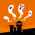 Halloween night: Spooky ghost characters Stock Photos