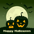Halloween Night - Two Pumpkins and Bats Royalty Free Stock Photo