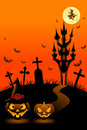 Halloween night vertical vector illustration of Stock Photos